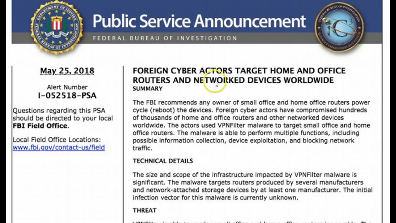 FBI Warns of Foreign Cyber Actors Targeting Home, Office Routers and ...
