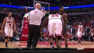 HD FULL VERSION LeBron James shoved down by Nazr Mohammed 2013 NBA Playoffs ECS Gm3 Heat at Bulls