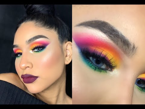 Rainbow Makeup Tutorial Using NEW James Charles X Morphe Pallet +review