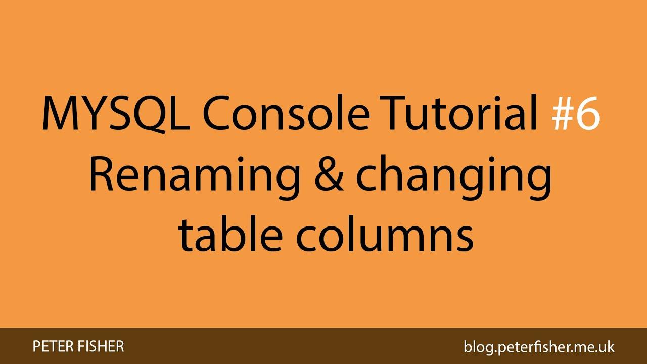 MYSQL Console Tutorials