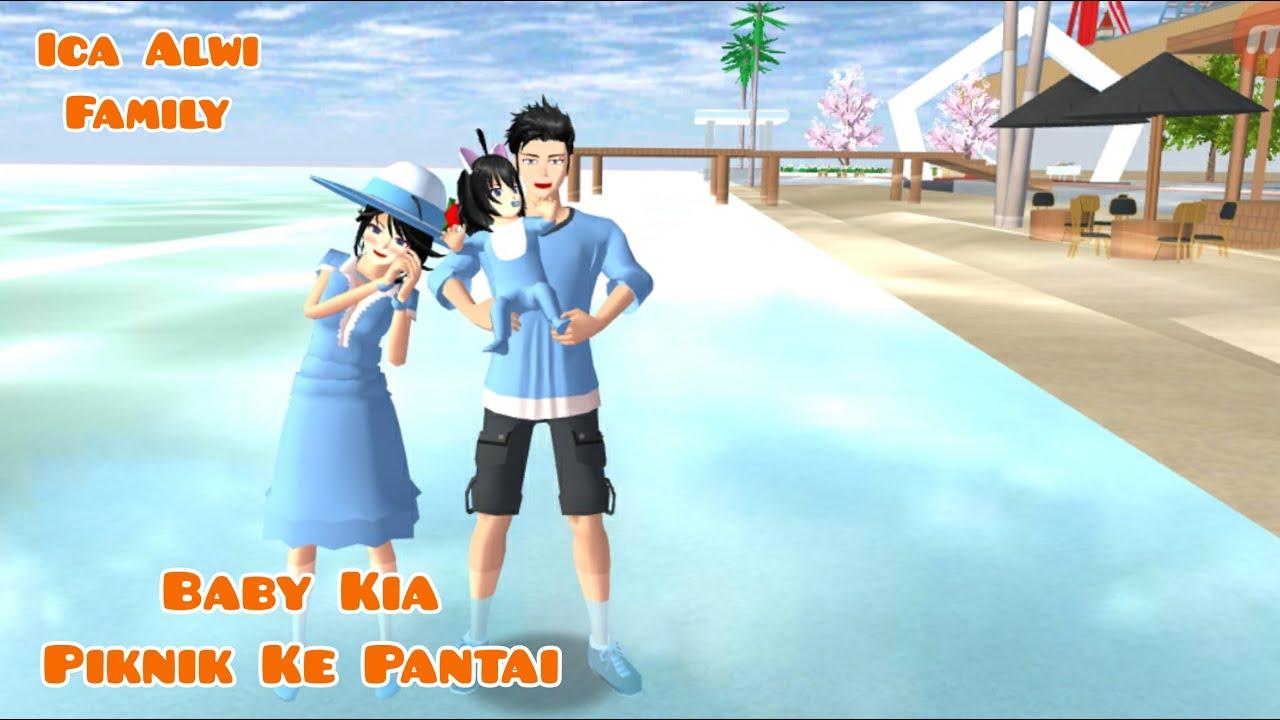 Baby Kia Piknik Ke Pantai   Ica Alwi Family Vlog   Drama Sakura School Simulator