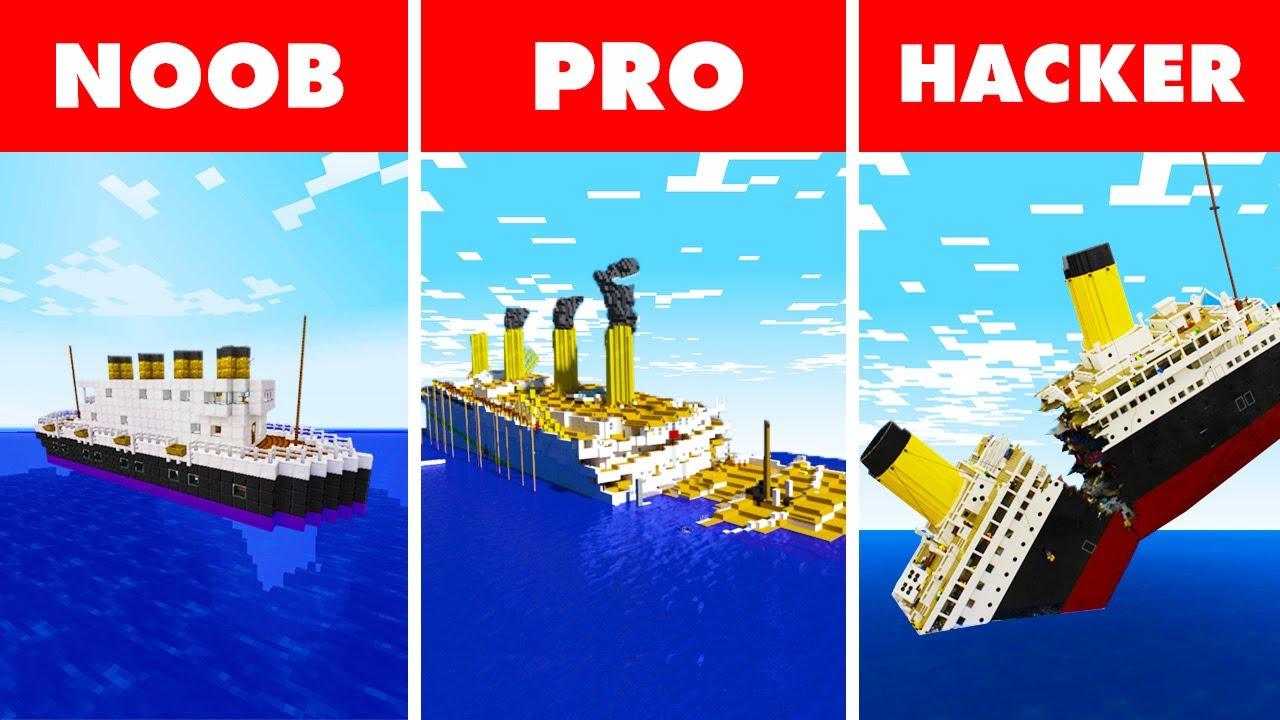 Download Noob vs. Pro vs. Hacker : SINKING TITANIC SURVIVAL! In Minecraft Animation