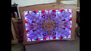 Illuminated Flower of life with 4 devisions with Elm Frame