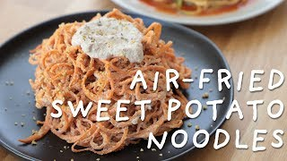 Air-Fried Spiralized Noodles (sweet potato pasta and zucchini noodles)