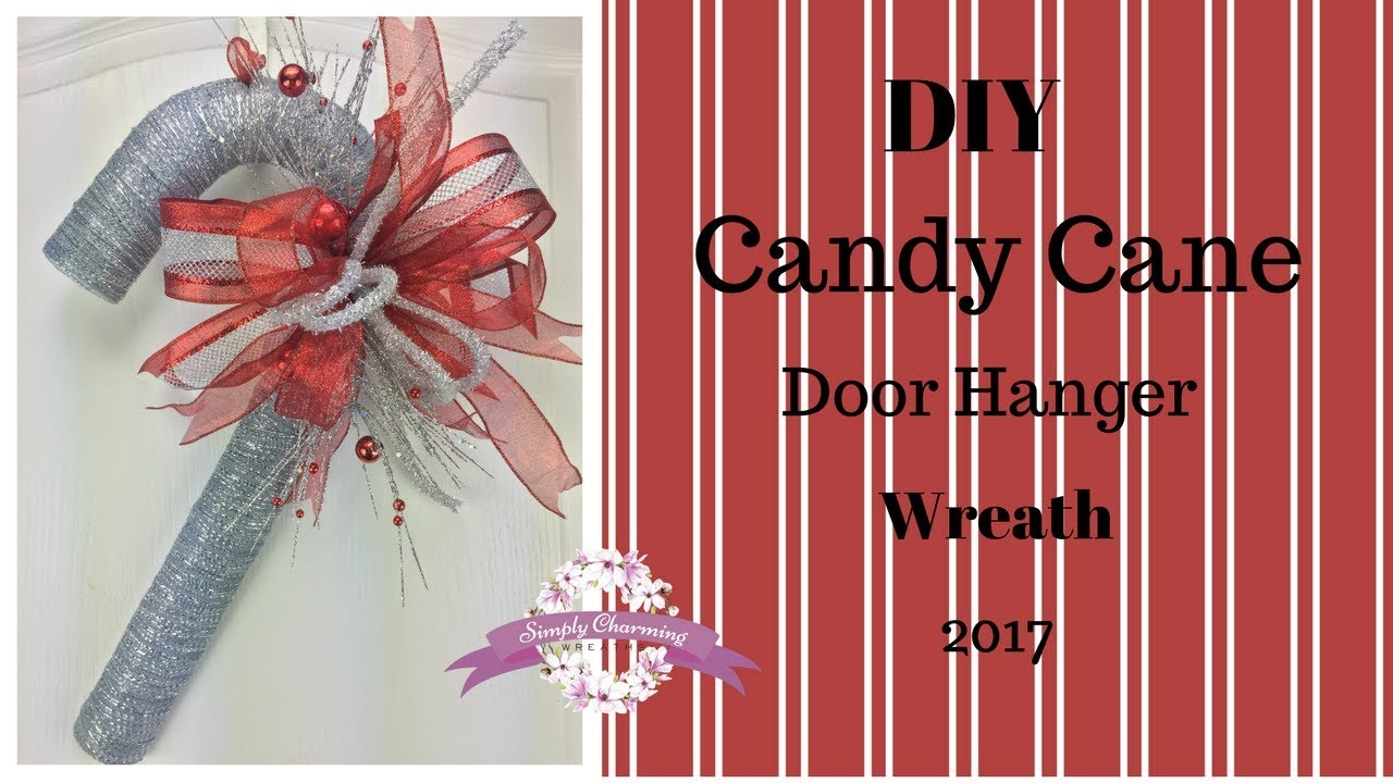 Diy Candy Cane Door Hanger Wreath Youtube