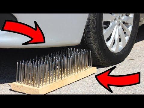 ЭКСПЕРИМЕНТ: Автомобиль против гвоздей?