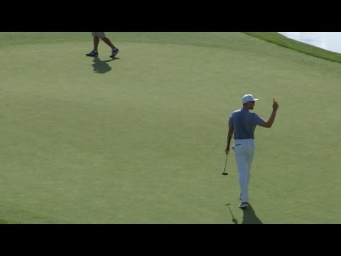 Patrick Rodgers holes his 54-footer for birdie at the Memorial
