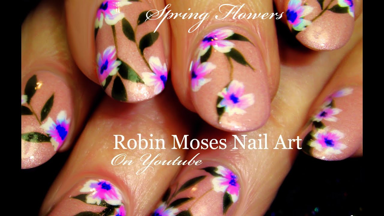Spring Flower Nails | DIY Easy Floral Nail Art Design Tutorial - YouTube