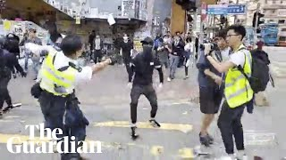 Hong Kong Police Shoot Protester Point-blank Range