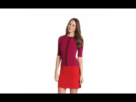 Women's Jewel Neck Drop Waist Color Block Spring Dresses