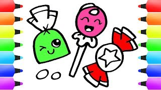 Cute Candies Lollipops Sweets Drawings for Kids! How to Draw Cute Candy Easy Art for Children