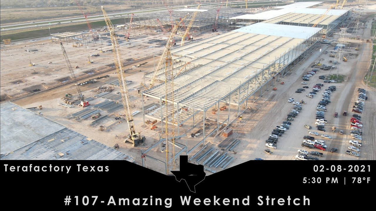 Tesla Terafactory Texas Update #107 in 4K:  Amazing Weekend Stretch - 02/08/21 (5:30pm | 78°F)