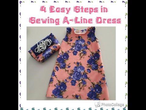 Cara memotong pola dan menjahit baju anak model ALine Dress