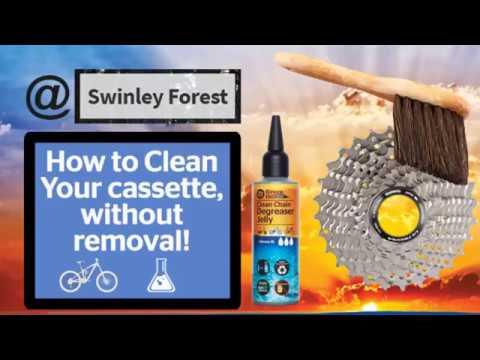 How to clean your Cassette on a mountain Bike in Swinley Forest, without removing the chain.