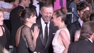 Maiwenn, Vincent Cassel, Norman Thavaud, Louis Garrel on the red carpet of Mon Roi in Cannes