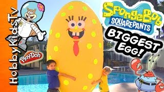 Worlds BIGGEST SPONGEBOB Surprise Egg! Toys + Play-Doh Mega Blocks Invisible Car HobbyKidsTV(This IDEA CREATED by HobbyKidsTV. Absolute Biggest, Giant Surprise Spongebob in the World! We DONATE toys to our local community children, ..., 2014-12-28T21:22:09.000Z)