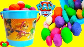 Paw Patrol GIANT Bucket of Play Doh Surprise Balls LEARN Colors