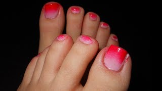 Pedicure, pink and red ombre