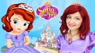 Sofia The First Kids Makeup Disney Princess with Toys & DRESS UP in Real Princess Dress