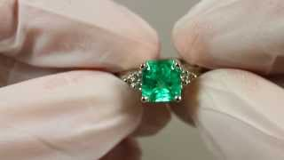 Glamorous! Rich Green Natural Colombian Emerald & Diamond Engagement Ring 14k