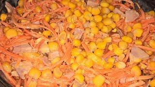 Салат с копченой курицей. Салат за 10 минут. Салат с корейской морковью. Салат с кукурузой.