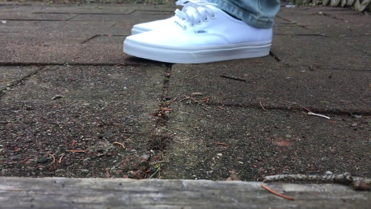 Vans authentic white on feet - YouTube