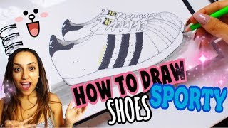 SUPER EASY!! HOW TO DRAW - SPORTY SHOES (STEP by STEP)