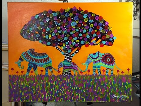 Beautiful Painting of Three Elephants! - Mexican Folk Art