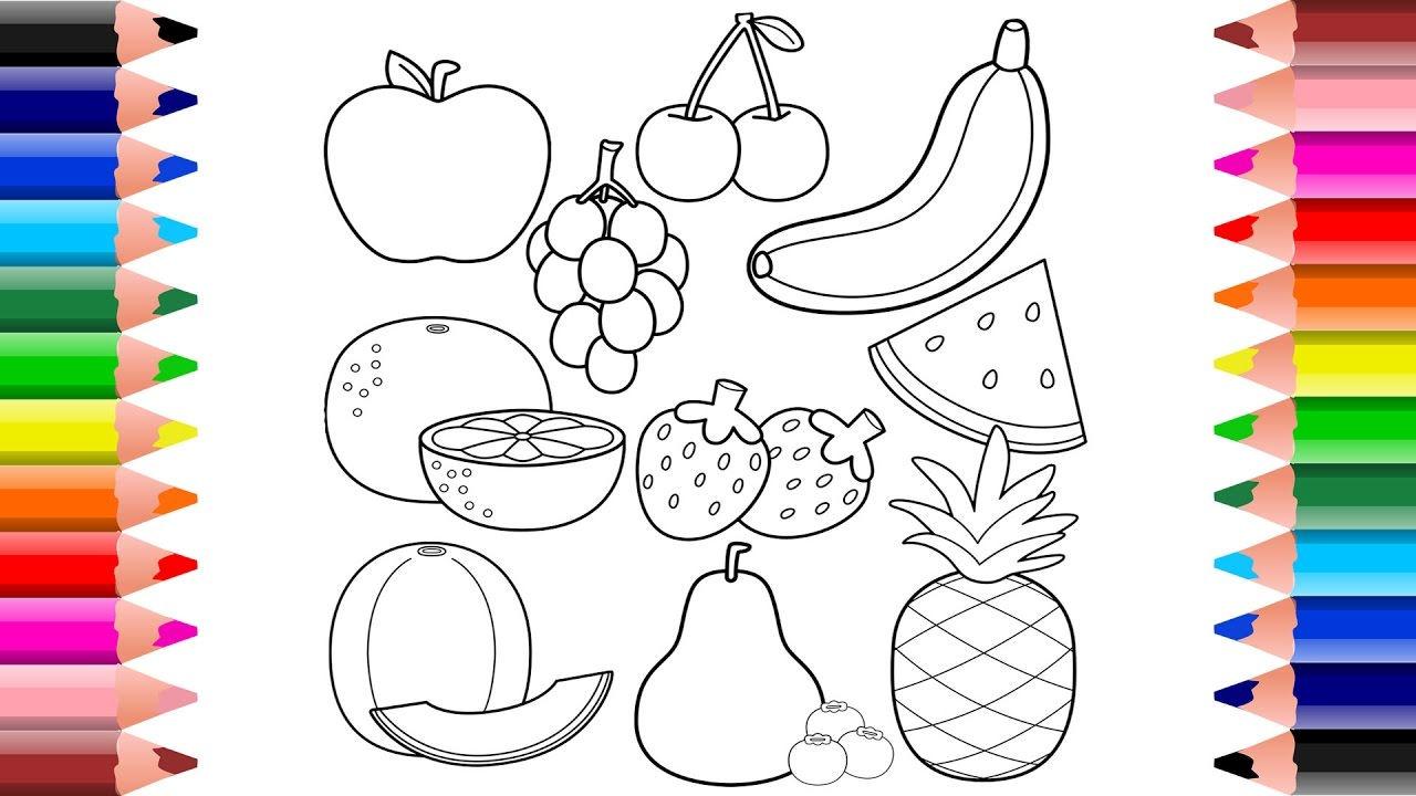 Healthy Fruits Coloring Pages For Toddlers And Kids