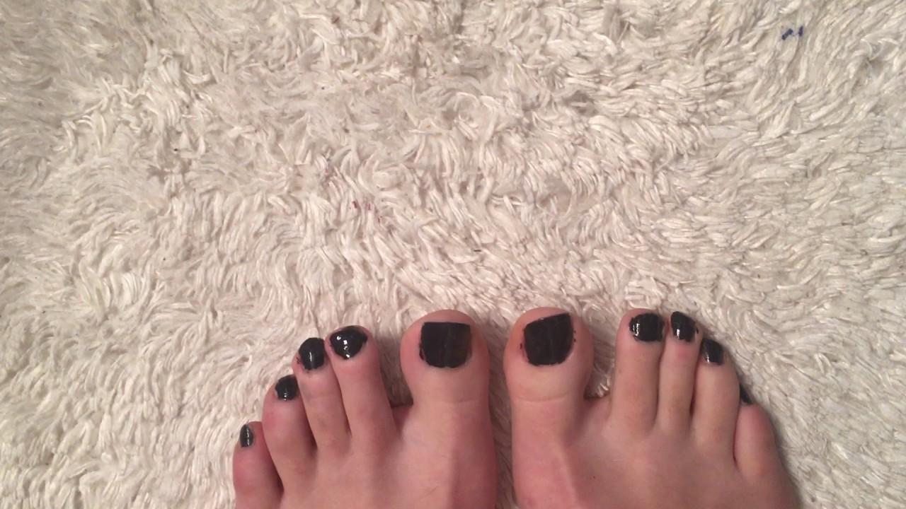 Dark Black Navy colored toenails - YouTube