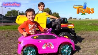 Dynacraft Pink TROLLS Battery Powered Ride On Car | Tonka 12V Dump Truck Family Fun