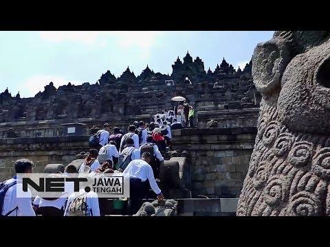 Peringati World Heritage Day, Ratusan Siswa Antusias Bersih-bersih Candi Borobudur - NET JATENG