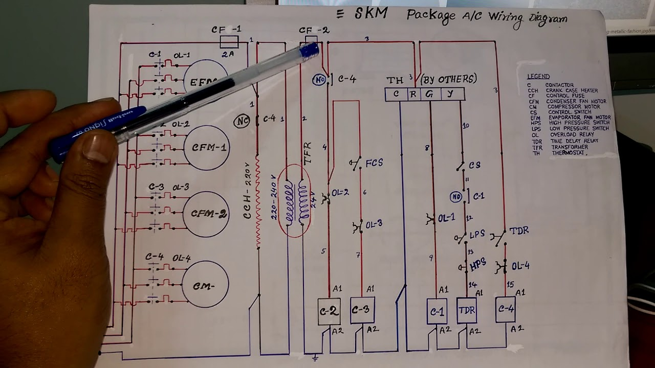 skm packaged air conditioning units control wiring diagram in hindi # part-  1