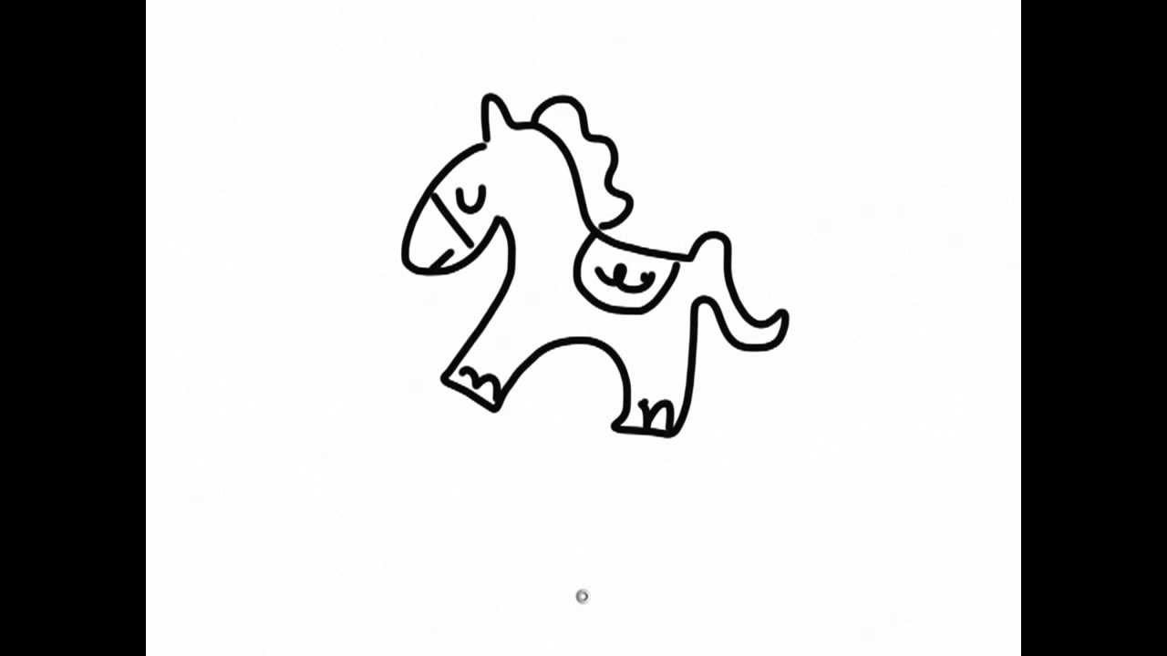 Ipad Draw a Simple cartoon horse - YouTube for Horse Cartoon Drawing  126eri
