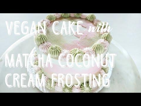 Vegan Chocolate Cake with Matcha Coconut Frosting Recipe | JOMAMA EATS