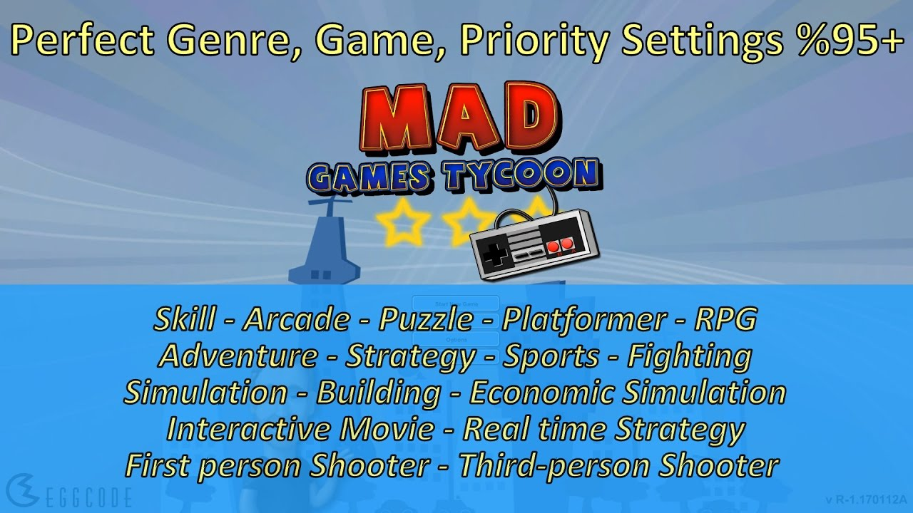 Settings for perfect game (Genre / Game and Priority) - %95+ | Mad ...
