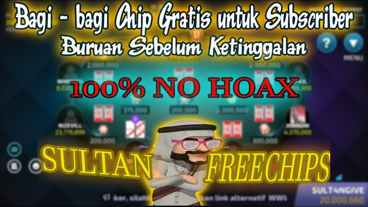 Cara Mendapatkan Chips Gratis Bandar Ceme Online Dan Poker Online Dari Sultan Freechips Youtube
