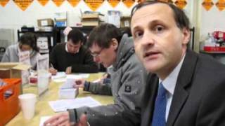 Pensions Minister Steve Webb helping out in Oldham East and Saddleworth
