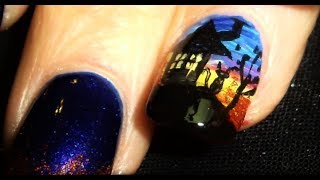 Nail Art Tutorial | Diy Halloween Nails | Haunted House Design