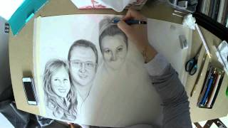 Drawing a Family Portrait (pencil and oil paint)