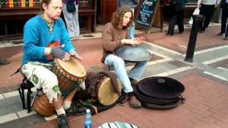 Djembe & Hang Drum buskers on Grafton St. May10th '11(Listen to more of Colm Mc Enaney's Hang Drum playing on his album