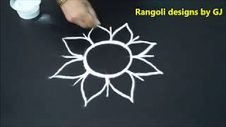 CuteFreehand Simple Rangoli designs || Round kolam designs without dots || Rangoli designs by GJ