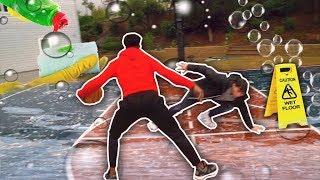1vs1 JesserTheLazer On Wet Soapy Slippery Court Challenge (Dish Washing Liquid) Basketball!