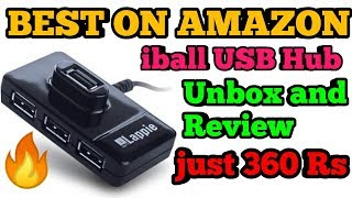 Iball Lappie Piano 423 High Speed 4 Port 2 0 USB Hub Unbox and Review Best on Amazon