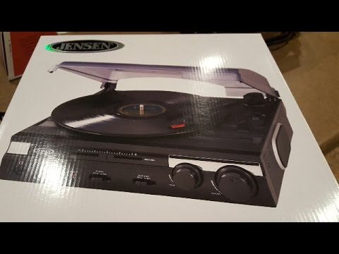 Unboxing   Jensen 3 Speed Stereo Turntable With Built In Speakers And Speed  Adjustment (JTA 230)