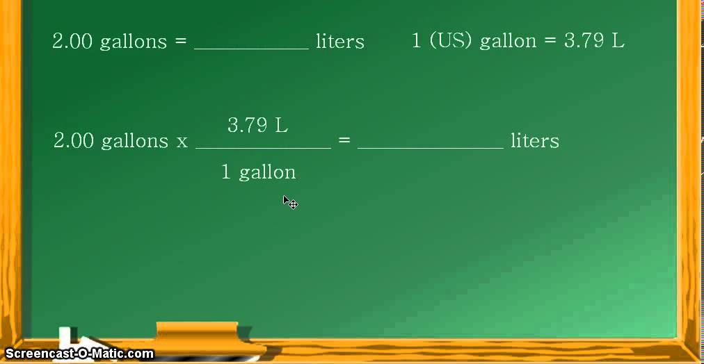 unit conversion gallons to liters