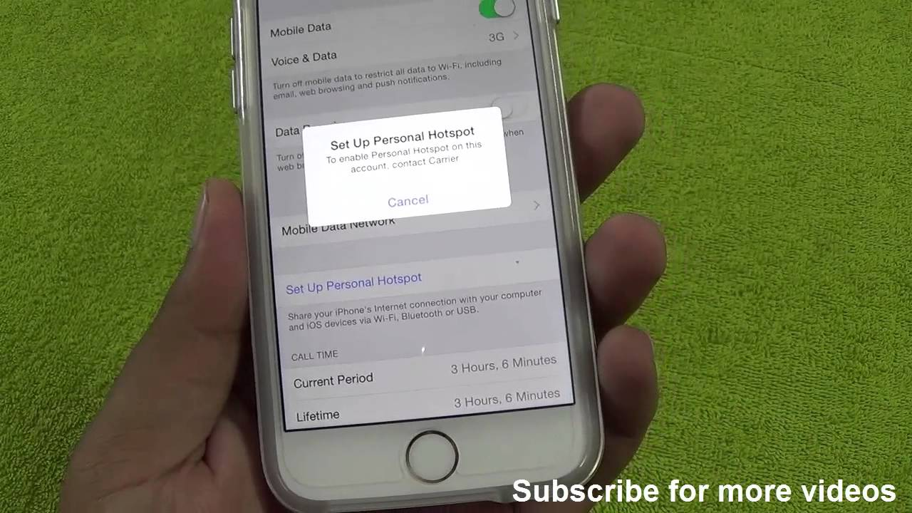 How To Enable & Fix Personal HotSpot on this account Contact Carrier Issue iOS 8 iPhone 6 or 6 p