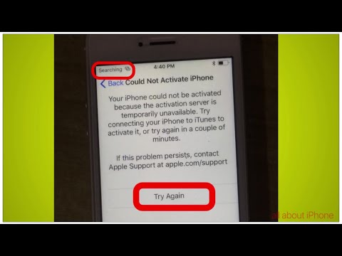 iPhone  be Could not activated because the activation server is temporarily unavailable.