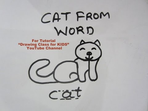 How To Draw Cat From Word Step By Step Tutorial For Kids Youtube