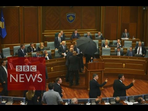 Kosovo: PM Isa Mustafa pelted with eggs in parliament - BBC News